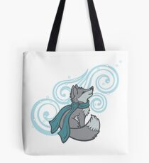 Swirling Snow Fox Tote Bag