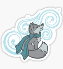 Swirling Snow Fox Sticker