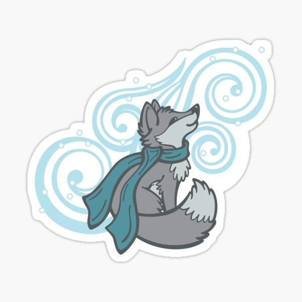 Swirling Snow Fox Sticker