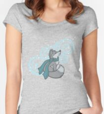 Swirling Snow Fox Fitted Scoop T-Shirt