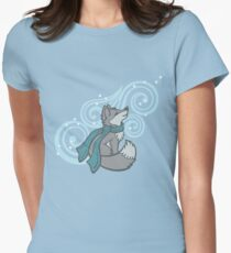 Swirling Snow Fox Women's Fitted T-Shirt