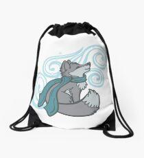 Swirling Snow Fox Drawstring Bag