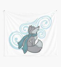 Swirling Snow Fox Wall Tapestry