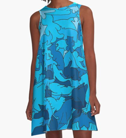 Cookie cutter animals - blue A-Line Dress