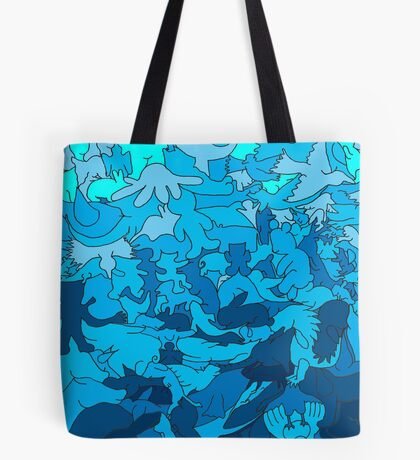 Cookie cutter animals - blue Tote Bag