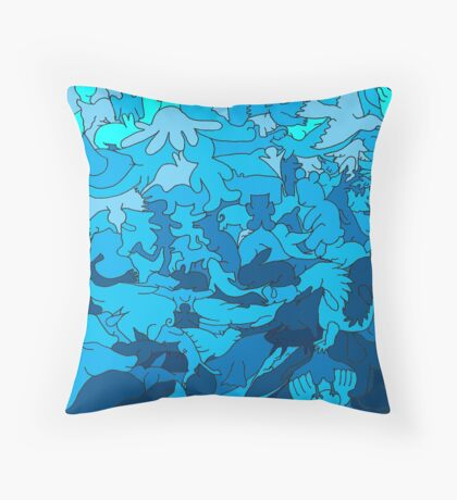 Cookie cutter animals - blue Throw Pillow