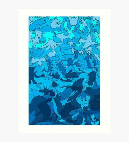 Cookie cutter animals - blue Art Print