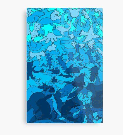 Cookie cutter animals - blue Metal Print