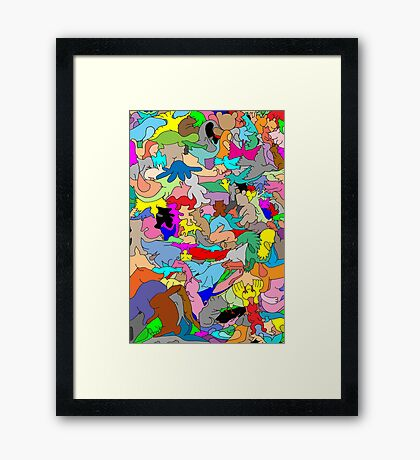 Cookie cutter animals - multi-coloured Framed Print