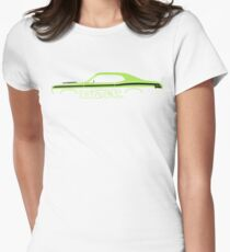 Car silhouette for Plymouth Duster 340 lime green enthusiasts Womens Fitted T-Shirt