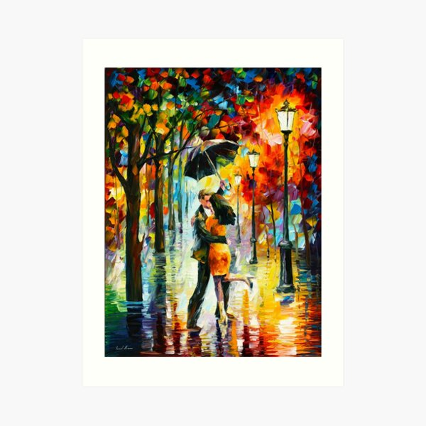 DANCE UNDER THE RAIN - Leonid Afremov Art Print
