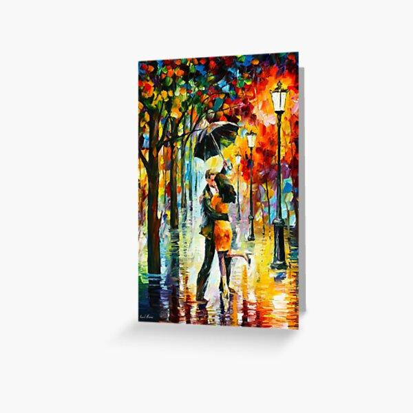 DANCE UNDER THE RAIN - Leonid Afremov Greeting Card