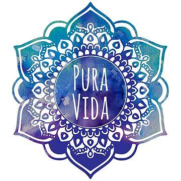 Pura Vida Watercolor Mandala by aterkaderk