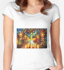 FAREWELL TO ANGER - Leonid Afremov Women's Fitted Scoop T-Shirt