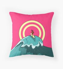 Balinese Surfing Throw Pillow