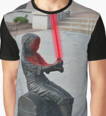 Girl Statue with Lightsaber Graphic T-Shirt