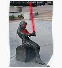 Girl Statue with Lightsaber Poster