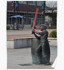 Boy Statue with Lightsaber Poster