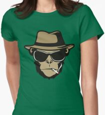 Cool Monkey Smoking Apes T-shirt Gorilla Head Face Tshirt Women's Fitted T-Shirt