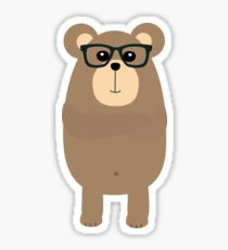 Nerd Brown Bear Sticker