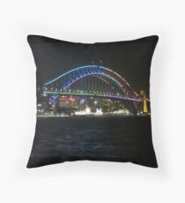 Vivid Sydney Harbour Bridge Throw Pillow