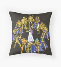 Gold Saints and Athena Throw Pillow