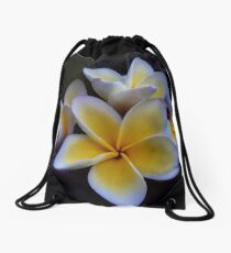 Yellow Frangipani Drawstring Bag