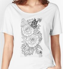 Peony Tattoo Design Women's Relaxed Fit T-Shirt