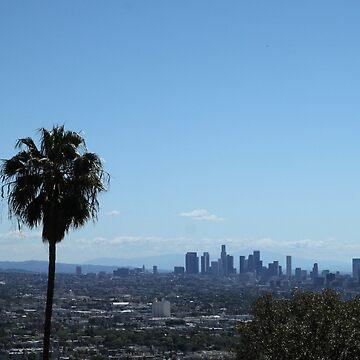 LA Skyline with Palm Tree by janemcdougall