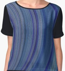 curve ribbon pattern blue Women's Chiffon Top