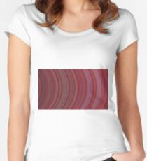 curve ribbon pattern red Women's Fitted Scoop T-Shirt