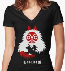 Princess Mononoke - Hayao Miyazaki - Studio Ghibli Women's Fitted V-Neck T-Shirt