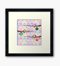 Cute birds and colorful bricks Framed Print