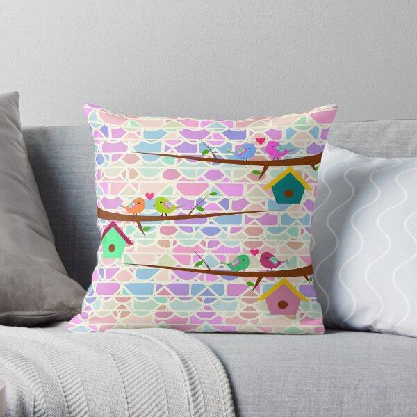 Cute birds and colorful bricks Throw Pillow