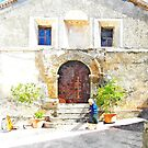 old woman in front of the church Tortora by Giuseppe Cocco
