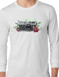Watercolor Floral Camera #stickers Long Sleeve T-Shirt