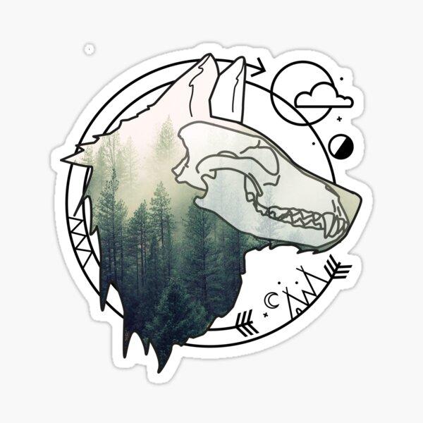 Wolf animal forest totem skull art Sticker