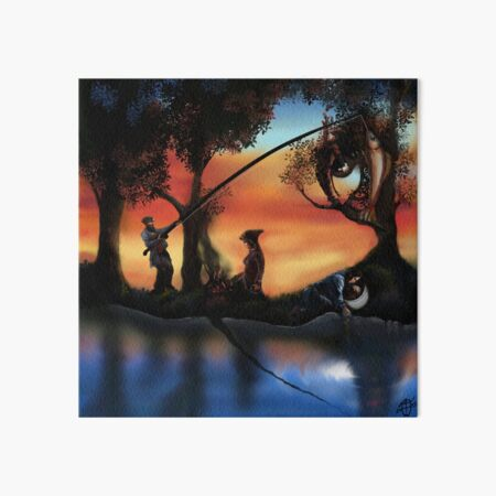 Rotating ART! two pics in one! fishing and gathering/Dali Art Board Print