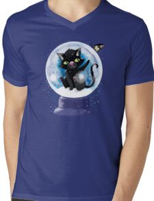 Black winter kitty in a snow globe and butterfly Mens V-Neck T-Shirt
