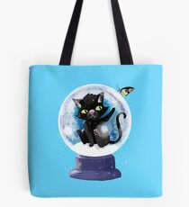 Black winter kitty in a snow globe and butterfly Tote Bag