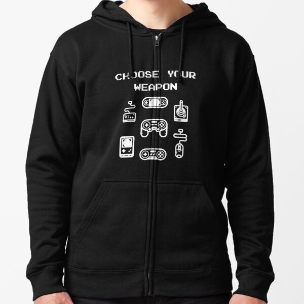 Retro Gaming T-shirt: Choose Your Weapon Classic Controllers Zipped Hoodie