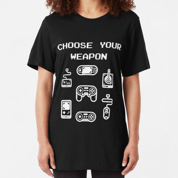 Retro Gaming T-shirt: Choose Your Weapon Classic Controllers Slim Fit T-Shirt