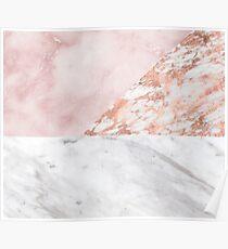 Mixed pinks rose gold marble Poster