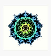 Awakening Mandala Colourized Blue Art Print