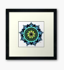 Awakening Mandala Colourized Blue Framed Print