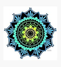 Awakening Mandala Colourized Blue Photographic Print