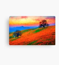 hills landscape trees sunset sunrise Canvas Print