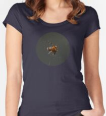 SPIDER, Spider. Macro nature. Close up of garden spider on natural black background. Scary halloween card Women's Fitted Scoop T-Shirt