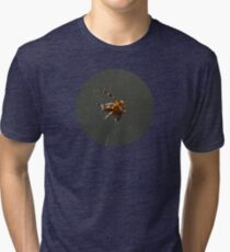 SPIDER, Spider. Macro nature. Close up of garden spider on natural black background. Scary halloween card Tri-blend T-Shirt