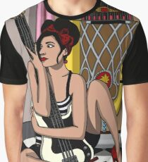 Rockabilly Bassist Pin Up Graphic T-Shirt